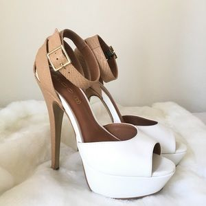 Aldo Platform Heels, White & Tan 💐